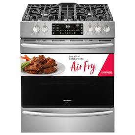 Frigidaire Gallery 5 Burners 5.6-cu ft Self-Cleaning Air Fry True Convection Freestanding Gas Range (Smudge-Proof Stainless Steel) (Common: 30-in; Actual: 29.88-in)