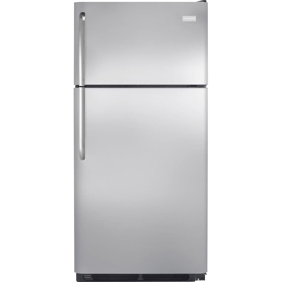 Shop Frigidaire 18 Cu Ft Top Freezer Refrigerator Stainless Steel Energy Star At Lowes Com