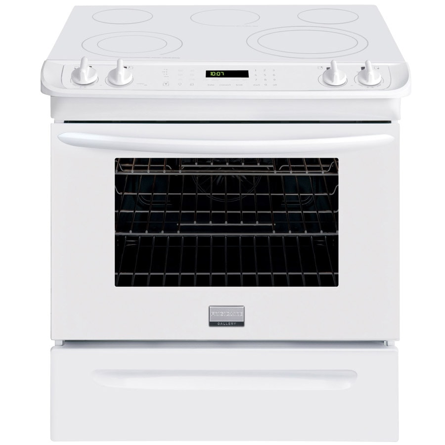 Frigidaire Gallery Smooth Surface 5-Element Self-cleaning Slide-In Single-fan European Element Electric Range (White) (Common: 30-in; Actual 30-in)