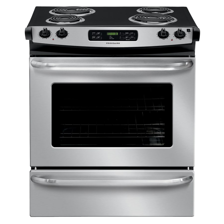 Frigidaire Coil Surface 4-Element Self-cleaning Slide-In Electric Range (Stainless steel) (Common: 30-in; Actual 30-in)