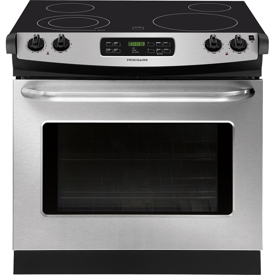 Frigidaire 30-in Smooth Surface 4.6-cu ft Self-Cleaning Drop-In Electric Range (Stainless Steel)