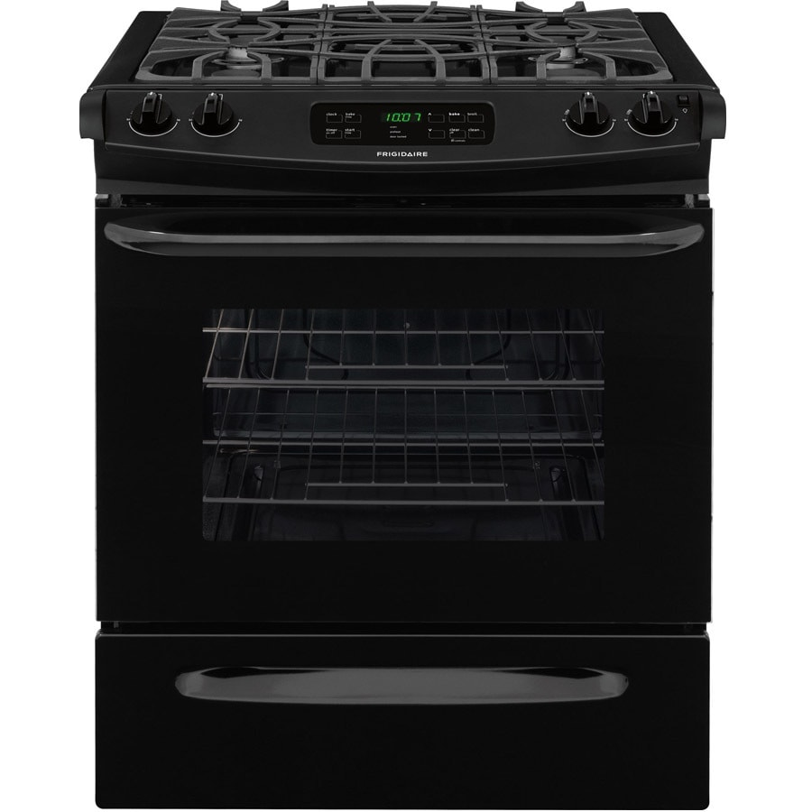 Frigidaire 4.5-cu ft Self-cleaning Slide-In Gas Range (Black) (Common: 30-in; Actual 30-in)