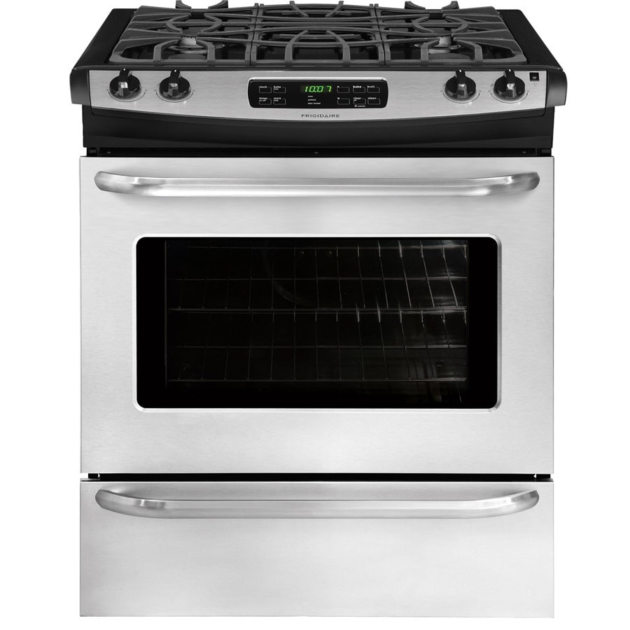 Frigidaire 4-Burner 4.5-cu ft Self-cleaning Slide-In Gas Range (Stainless steel) (Common: 30-in; Actual 30-in)