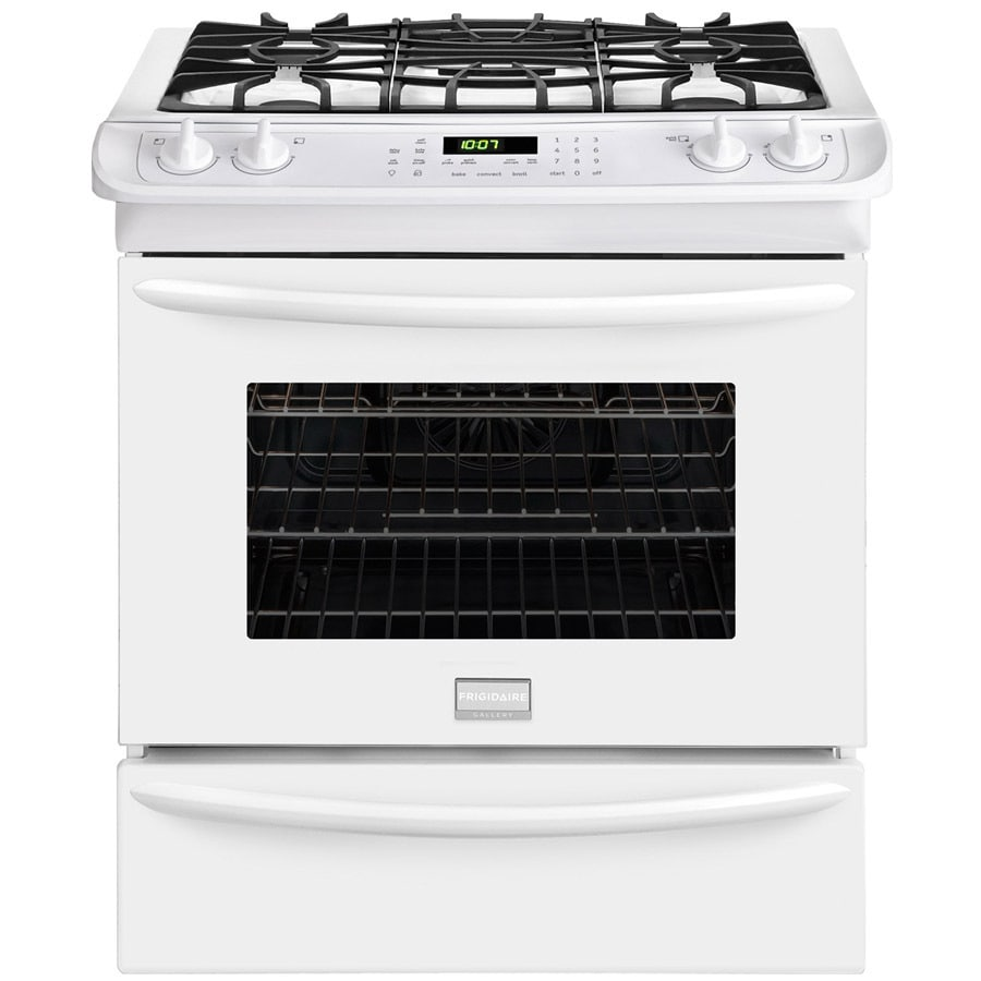 Frigidaire Gallery 4-Burner 4.5-cu ft Self-cleaning Slide-In Convection Gas Range (White) (Common: 30-in; Actual 30-in)