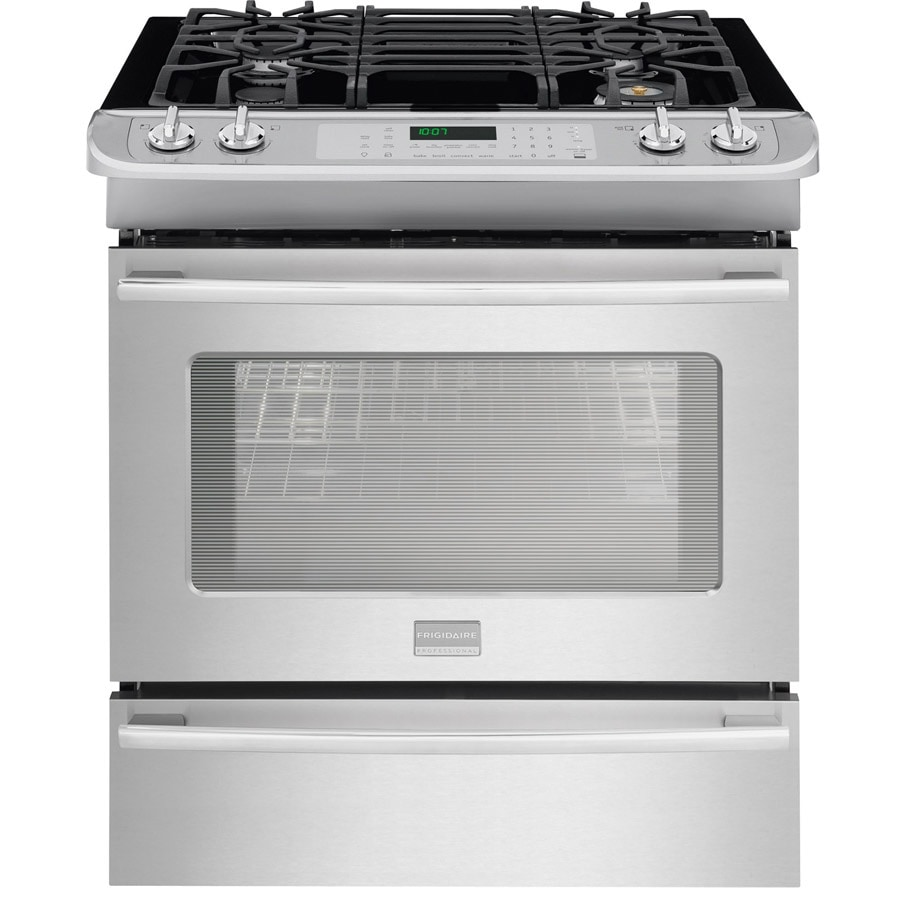 Frigidaire Professional 4.5-cu ft Slide-In Convection Gas Range (Stainless Steel) (Common: 30-in; Actual 30-in)