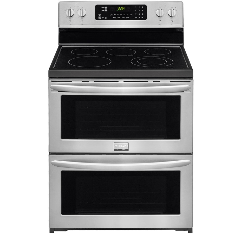 Frigidaire 30-in Smooth Surface 5-Element 3.6-cu ft/3.6-cu ft Self-Cleaning Double Oven Electric Range (Smudge-Proof Stainless Steel)