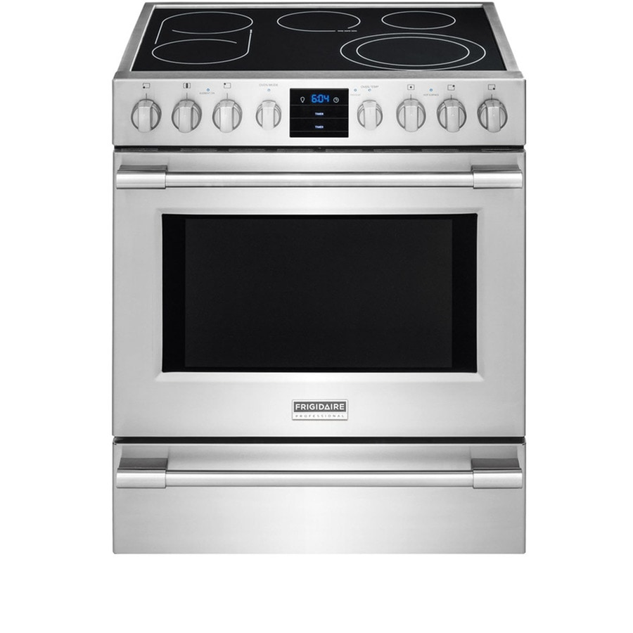 Frigidaire Professional Smooth Surface Freestanding 5-Element 5.1-cu ft Self-Cleaning Convection Electric Range (Smudge-Proof Stainless Steel) (Common: 30-in; Actual: 30-in)