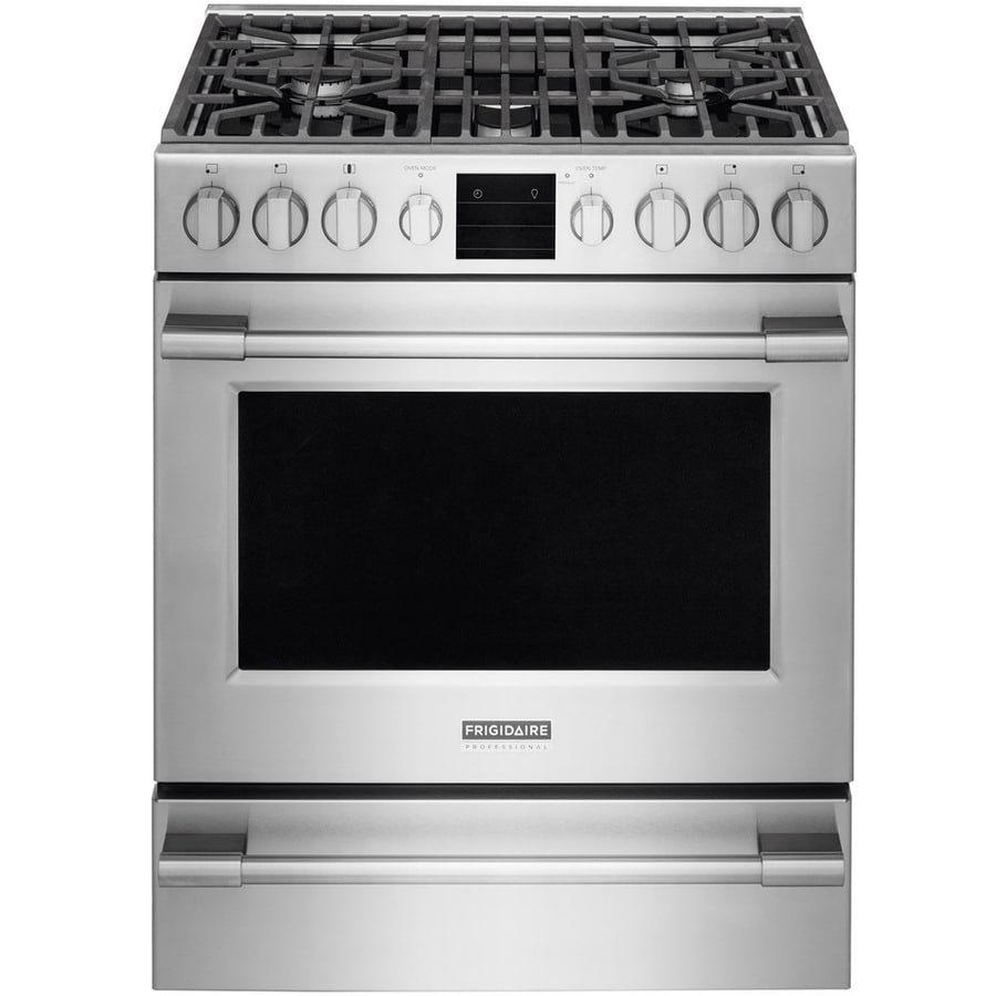 Frigidaire Professional 5 Burner 1 Cu Ft Self Cleaning True Convection Gas Range Smudge Proof Stainless Steel Common 30 In Actual 29 88