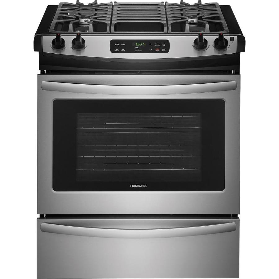 shop frigidaire 4 5 cu ft self cleaning slide in gas range stainless steel common 30 inch. Black Bedroom Furniture Sets. Home Design Ideas