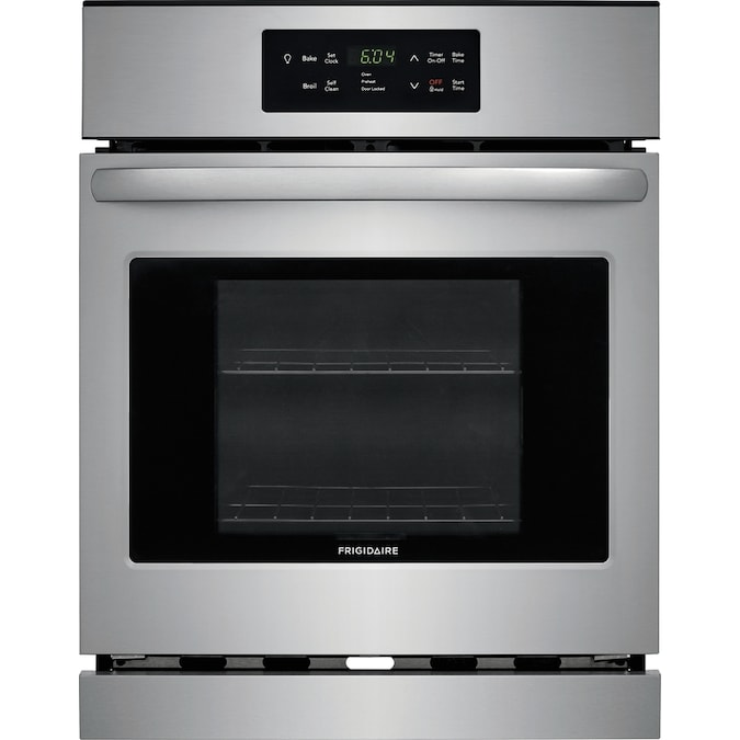 Frigidaire Self Cleaning Single Electric Wall Oven Stainless Steel Common 24 Inch Actual 23 88 In The Ovens Department At Lowes