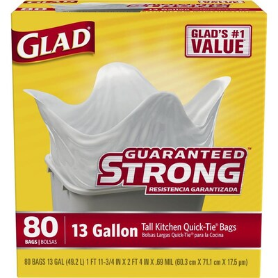 Quick Tie 80 Pack 13 Gallon White Plastic Kitchen Trash Bag