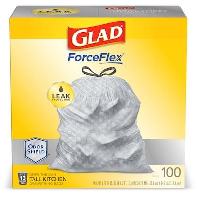 Forceflex 100 Pack 13 Gallon White Plastic Kitchen Trash Bag
