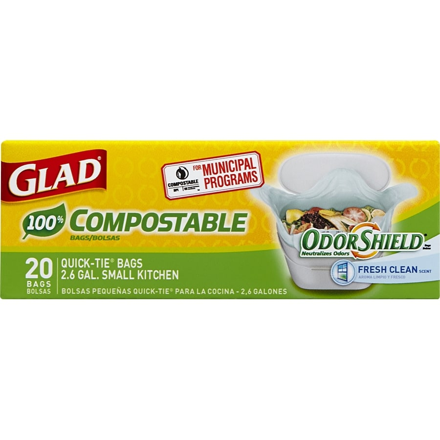 Glad Compostable 20-Count 2.6-Gallon Lemon Green Wastebasket Trash Bags