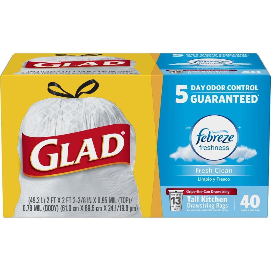 Glad 40-Count 13-Gallon Fresh Clean White Kitchen Trash-Bag