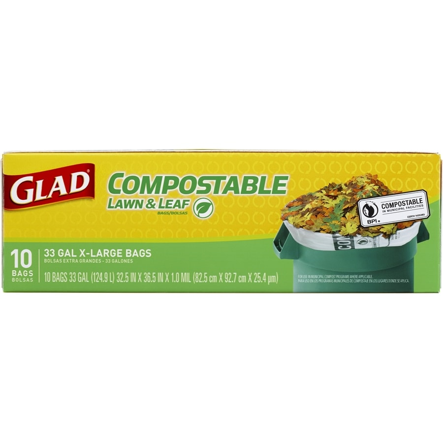 Glad Compostable 10-Count 33-Gallon Green Outdoor Leaf Trash Bags