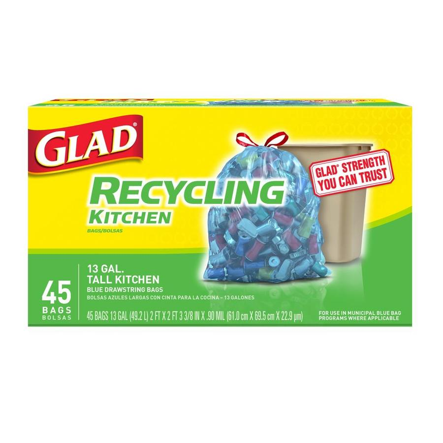 shop glad 45 count 13 gallon blue recycling trash bags at