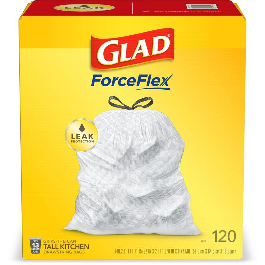 Glad Drawstring 120-Count 13-Gallon White Kitchen Trash Bags