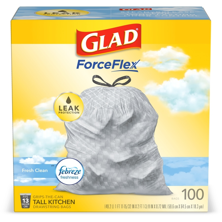 Glad 100-Count 13-Gallon Fresh Clean White Kitchen Trash Bags