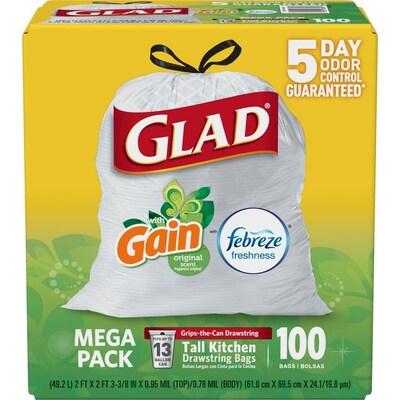 Drawstring 100 Pack 13 Gallon Gain White Plastic Kitchen Trash Bag