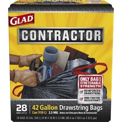 Contractor 28 Pack 42 Gallon Black Plastic Construction Trash Bag