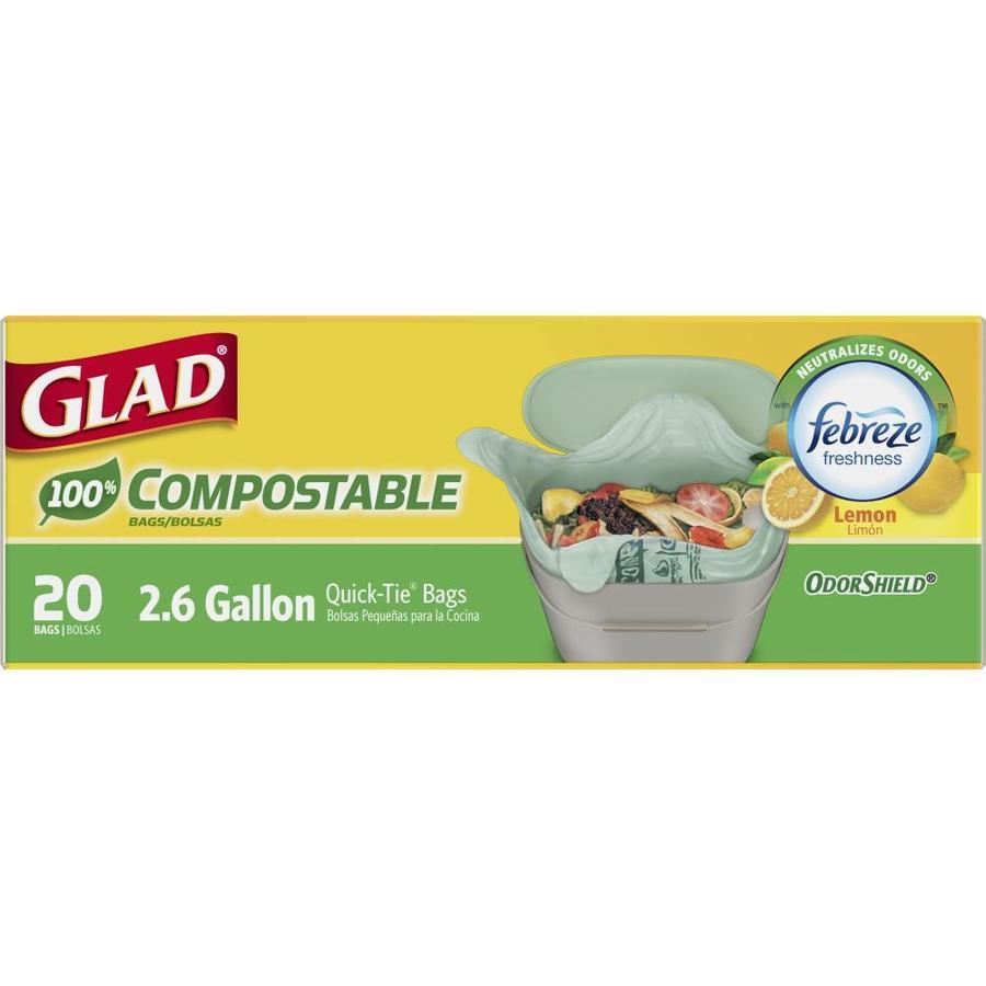 Glad Compostable 20-Count 2.6-Gallon Lemon Green Wastebasket Trash Bags