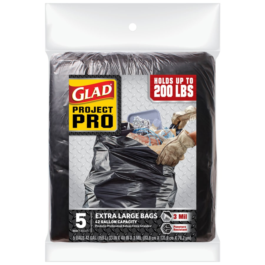 a0b910fdb4b Glad Contractor 5-Pack 42-Gallon Black Outdoor Polypropylene Construction  Trash-Bag. 75 Ratings
