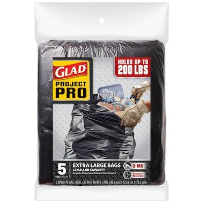 Contractor 5 Pack 42 Gallon Black Polypropylene Construction Trash Bag
