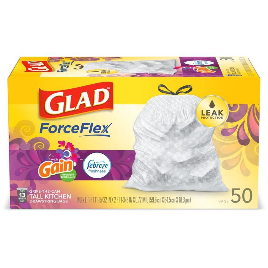 Glad OdorShield 50-Pack 13-Gallon White Plastic Kitchen Trash Bag at
