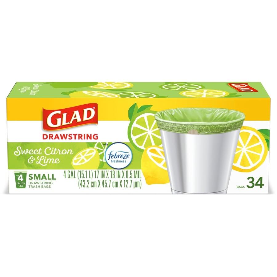 80 Count Glad OdorShield Small Drawstring Trash Bags Febreze Sweet Citron /& Lime 4 Gallon