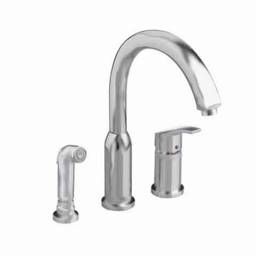 shop american standard arch stainless steel 1 handle deck mount high arc kitchen faucet at lowes