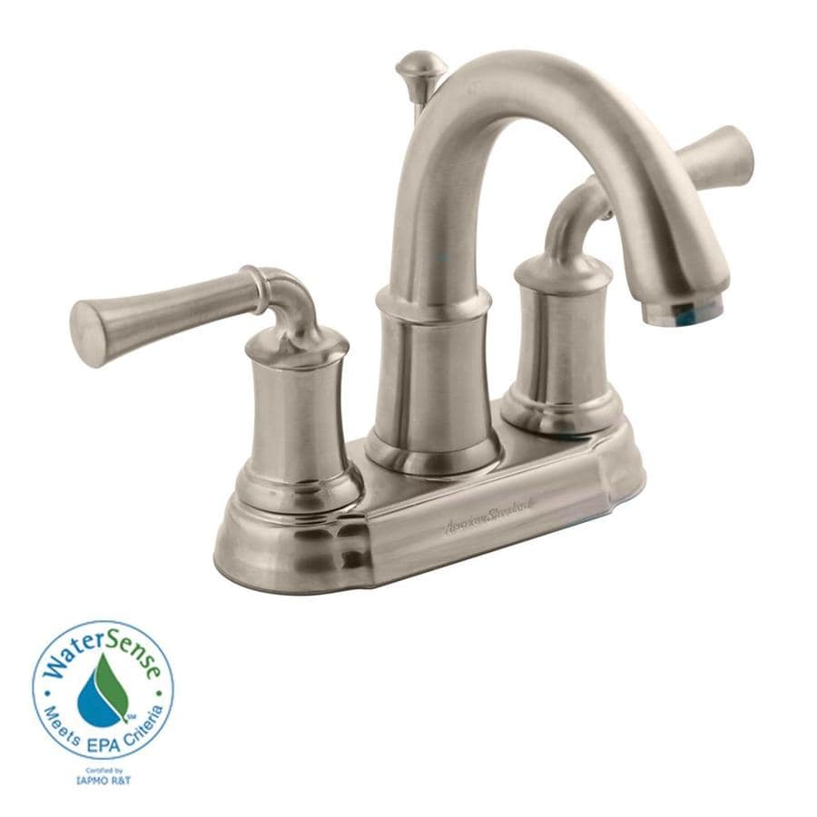 American Standard Portsmouth Satin Nickel 2-Handle 4-in Centerset WaterSense Bathroom Faucet (Drain Included)