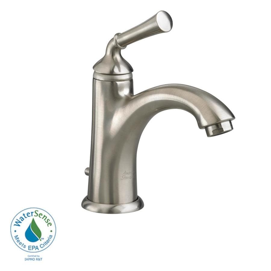 American Standard Portsmouth Satin Nickel 1-Handle Single Hole WaterSense Bathroom Faucet (Drain Included)
