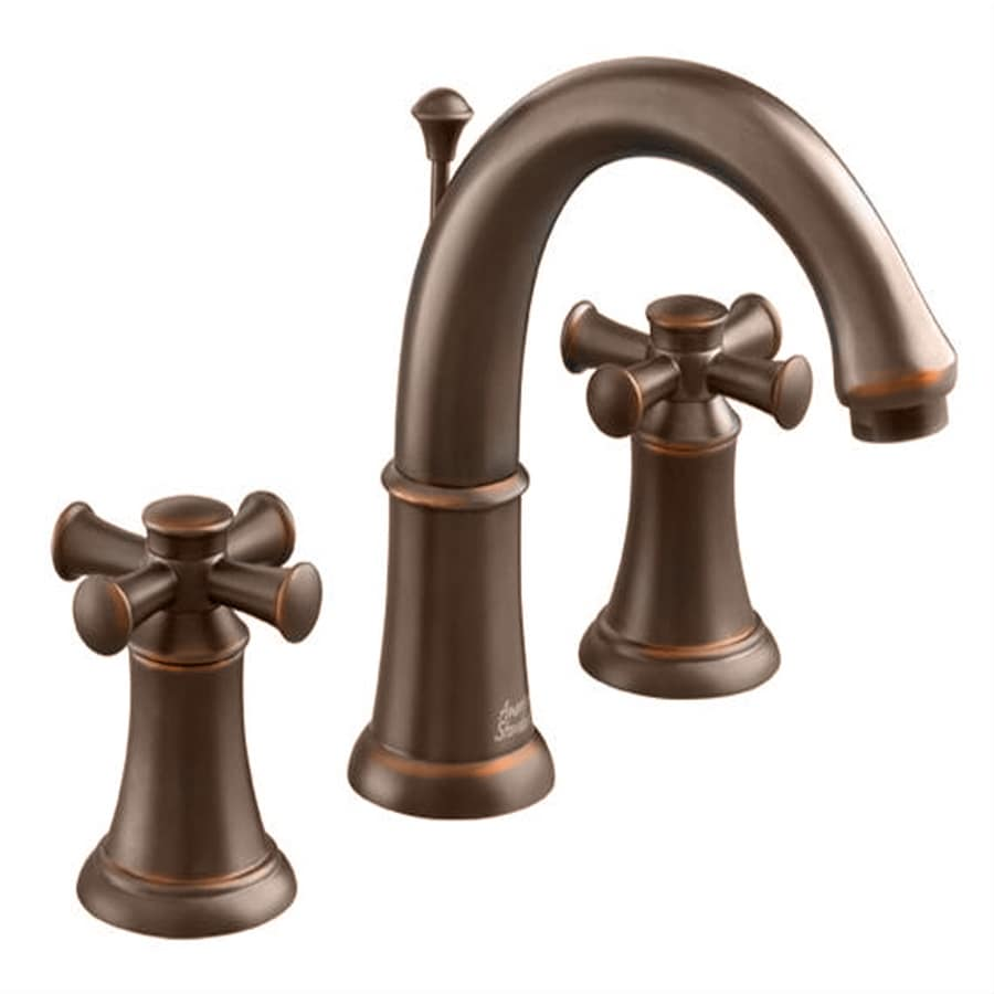 Shop american standard portsmouth oil rubbed bronze 2 handle widespread watersense bathroom for Oil rubbed bronze bathroom faucets