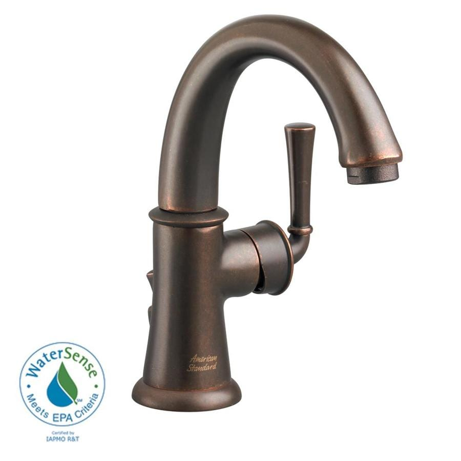 Shop american standard portsmouth oil rubbed bronze 1 handle single hole watersense bathroom for Oil rubbed bronze bathroom faucets