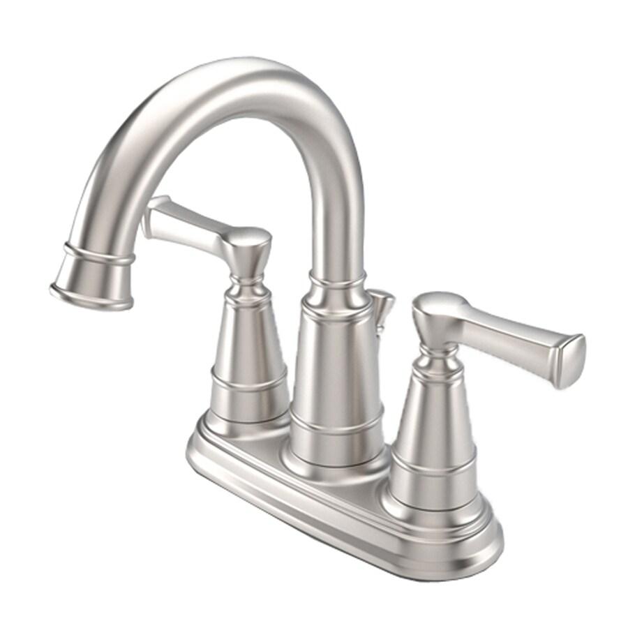 Shop Aquasource Satin Nickel 2 Handle 4 In Centerset Watersense Bathroom Faucet Drain Included