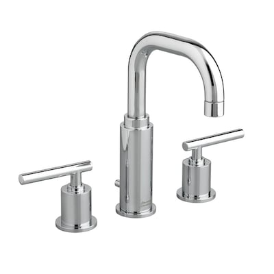 American Standard Bathroom Faucets >> Serin Polished Chrome 2 Handle Widespread Bathroom Sink Faucet With Drain Valve Included