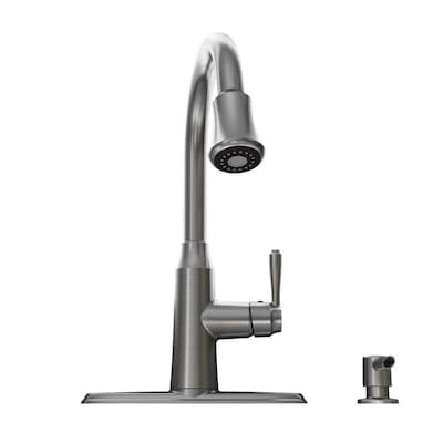 Soltura Stainless Steel 1-Handle Deck Mount Pull-down  Commercial/Residential Kitchen Faucet