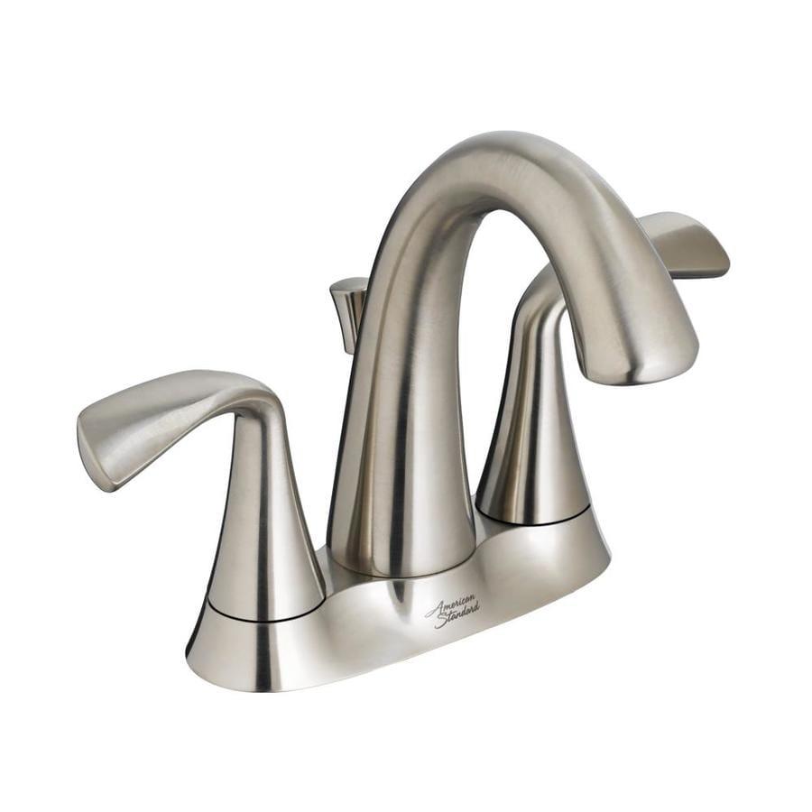 American Standard Fluent Satin Nickel 2-Handle 4-in Centerset WaterSense Bathroom Faucet (Drain Included)
