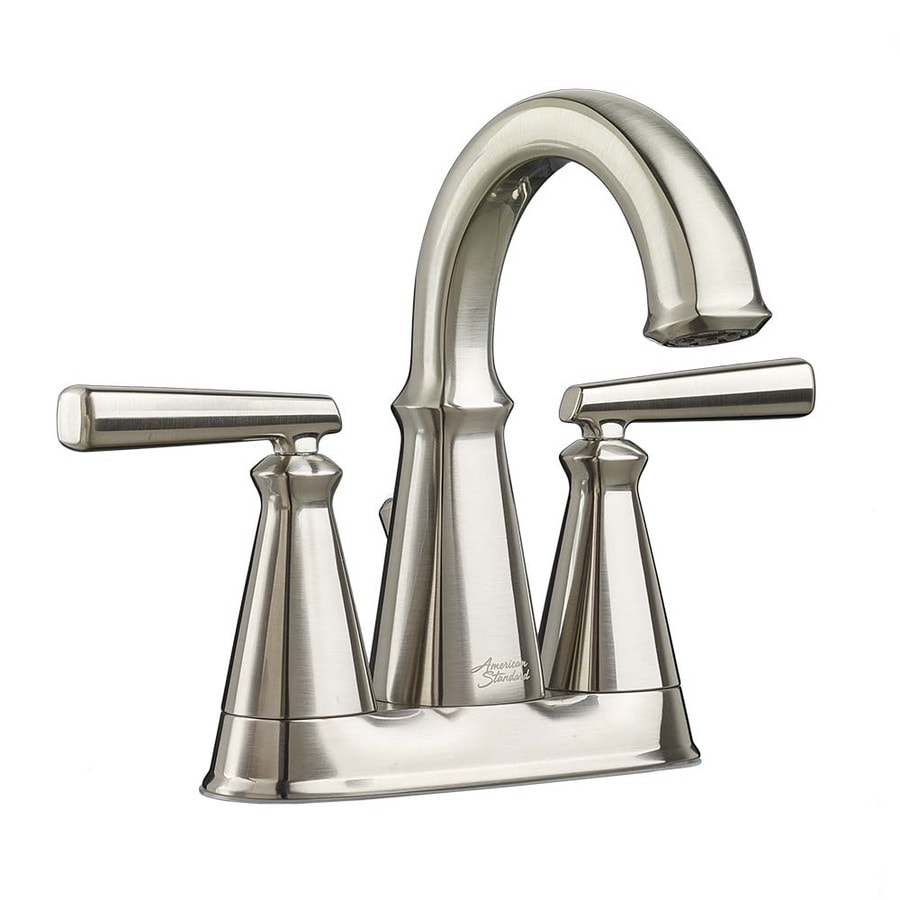 Shop american standard kirkdale brushed nickel 2 handle 4 for Bathroom faucets lowes