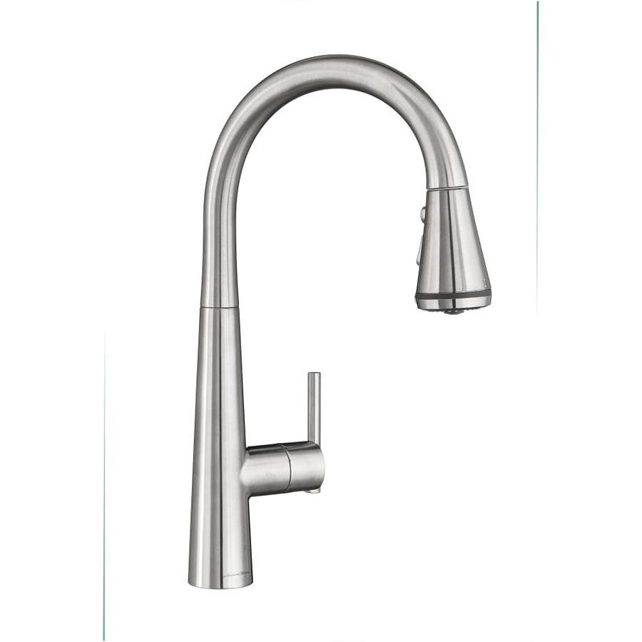 American Standard Edgewater Stainless Steel 1 Handle Deck Mount Pull Down Handle Kitchen Faucet In The Kitchen Faucets Department At Lowes Com