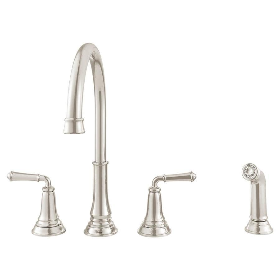 American Standard Delancey Brushed Nickel 2-Handle Deck Mount High-arc Kitchen Faucet