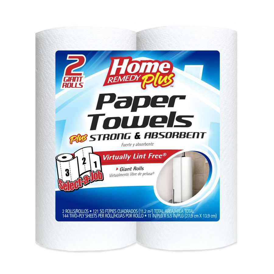 Home Remedy Plus 2-Roll White Select A Job Paper Towels