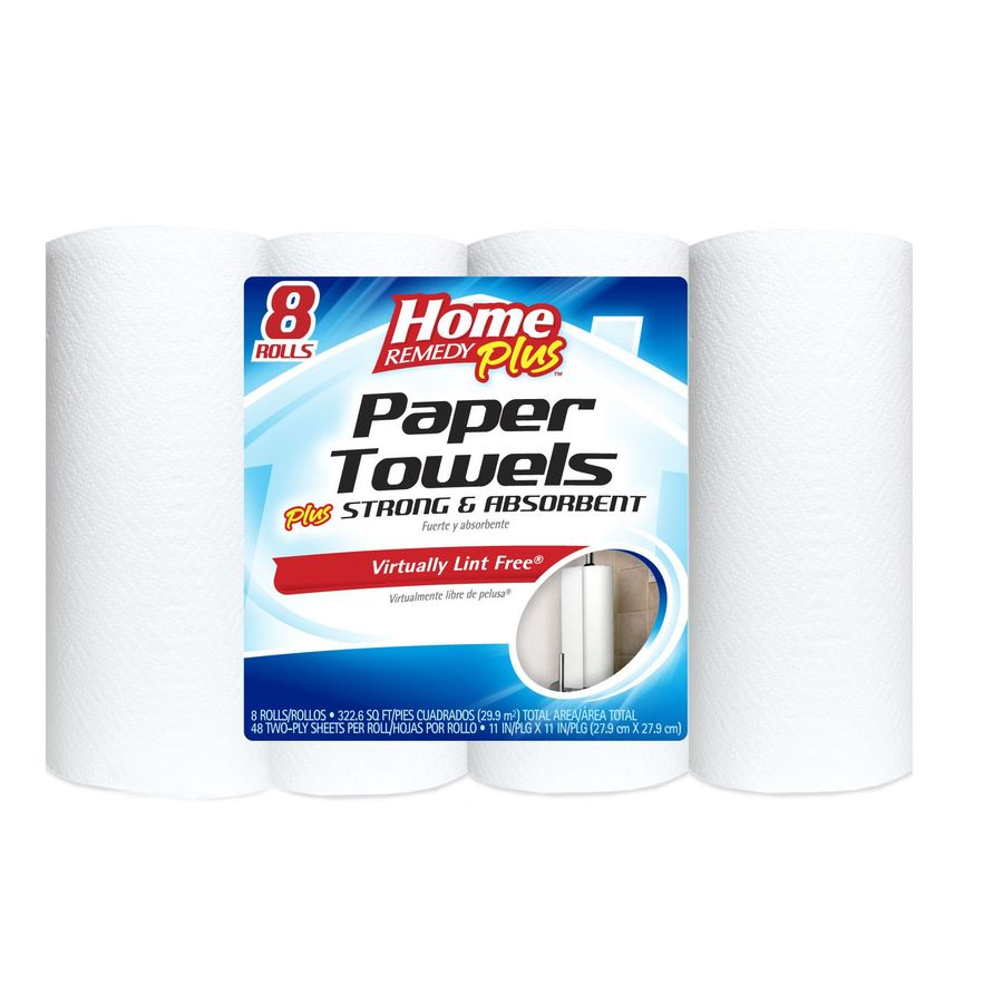 Home Remedy Plus 8-Roll White Towels