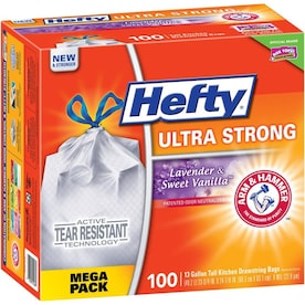 Hefty 100-Pack 13-Gallon Lavender Vanilla White Plastic Kitchen Trash Bag