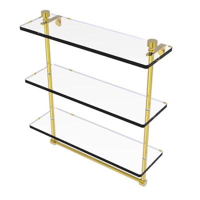 Allied Brass Foxtrot Polished Brass 3 Tier Brass Wall Mount Bathroom Shelf In The Bathroom Shelves Department At Lowes Com