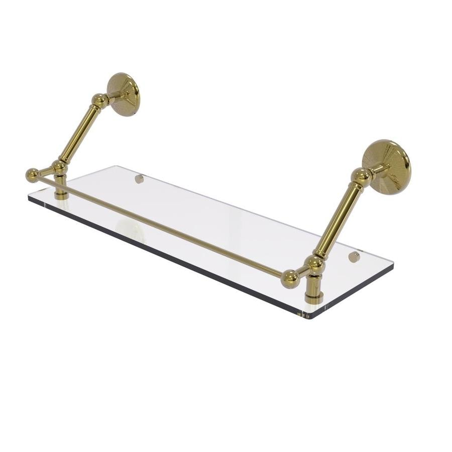 Allied Brass Prestige Monte Carlo Unlacquered Brass 1 Tier Brass Wall Mount Bathroom Shelf In The Bathroom Shelves Department At Lowes Com