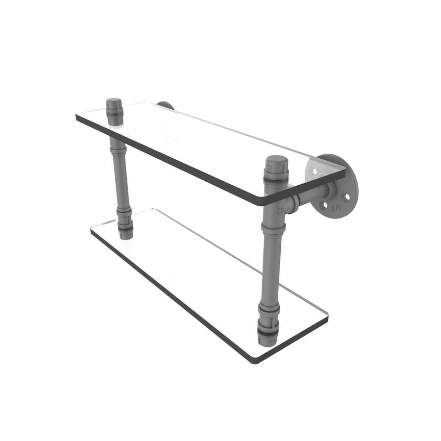Allied Brass Pipeline Matte Gray 2 Tier Metal Wall Mount Bathroom Shelf In The Bathroom Shelves Department At Lowes Com