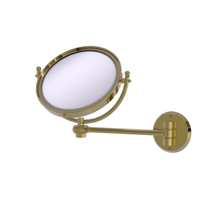 Allied Brass RWM-4//2X-SBR Retro Wave Collection Wall Mounted Swivel Make-Up Mirror 8 Inch Diameter with 2X Magnification Satin Brass