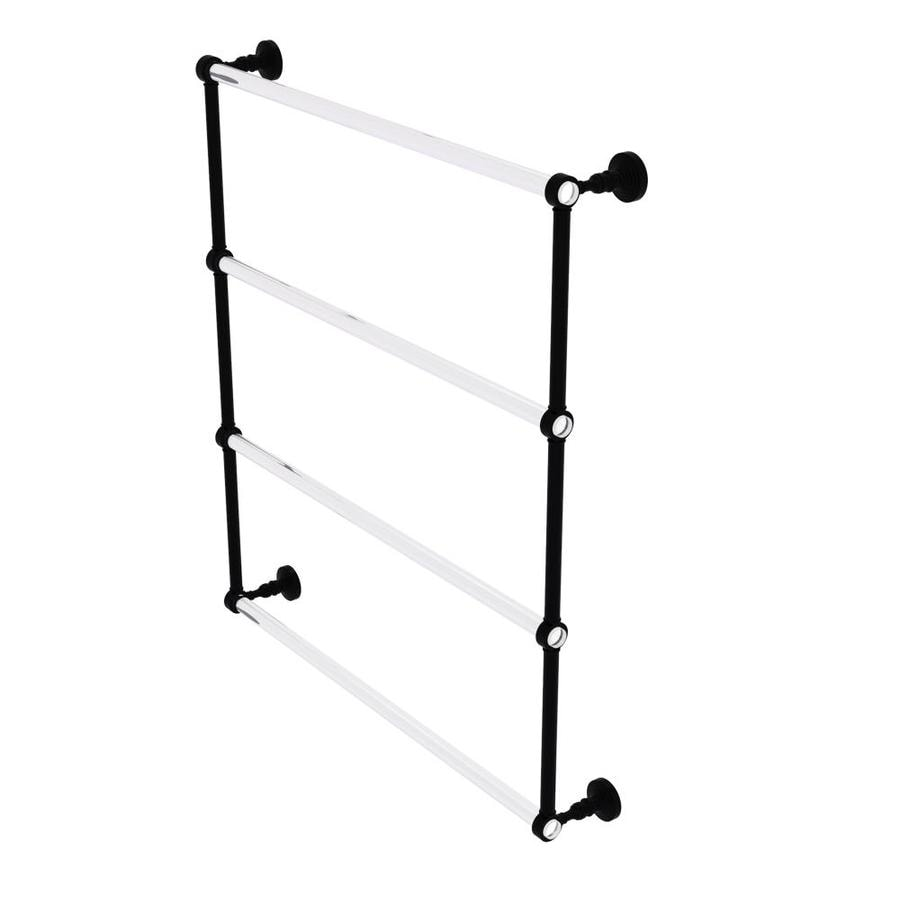 Allied Brass PG-72G-18-BKM Pacific Grove Collection 18 Inch Double Towel Bar with Groovy Accents Matte Black