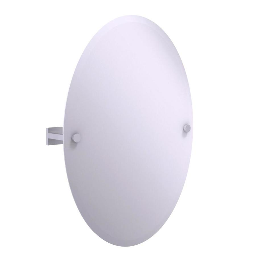 Allied Brass Montero 3 7 In Satin Chrome Oval Frameless Bathroom Mirror In The Bathroom Mirrors Department At Lowes Com